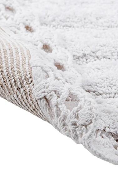 Giz Home Lace Yuvarlak El Yapımı Pamuklu Banyo Paspası Beyaz Beyaz